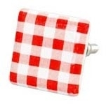 Knop vierkant rood blokje