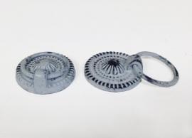 Knop/ladetrekker met ring antiek grijs