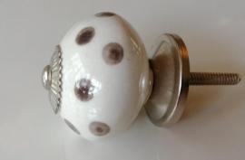 Knop wit met grijze stip