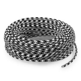 Textielsnoer zwart-wit geblokt