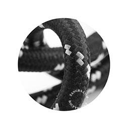 Textielsnoer zwart met witte stip 3 polig