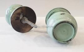 Knop hout 'plat' mintgroen XL