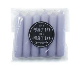 Set 6 dinerkaarsen misty lilac D:2,1 cm