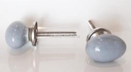 Knop mini ovaal grijs
