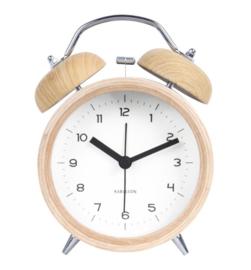 Wekker Classic bell hout/wit