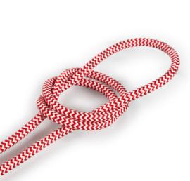 Textielsnoer rood-wit zebra