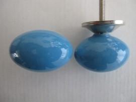 Knop ovaal blauw