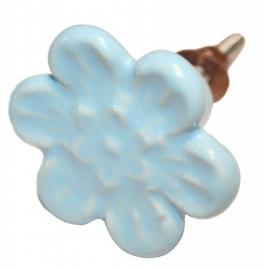 Knop bloem l.blauw