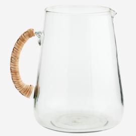 Schenkkan glas/bamboe Madam Stoltz
