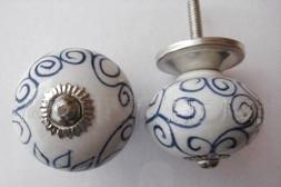 Knop wit/blauw