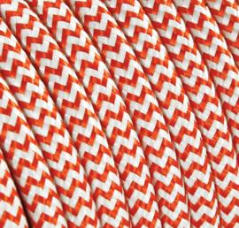 Textielsnoer oranje-wit zebra
