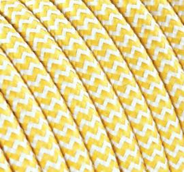 Textielsnoer geel-wit zebra