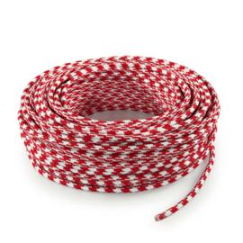 Textielsnoer rood-wit geblokt