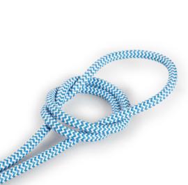 Textielsnoer l.blauw-wit zebra
