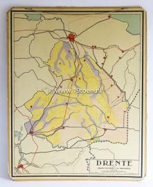 """Oude schoolplaat 2-zijdig """"Drenthe / Verkeer"""""""
