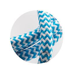 Textielsnoer blauw-wit zebra