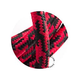 Textielsnoer zwart-rood geblokt