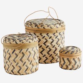 Set 3 bamboe manden naturel-grijs Madam Stoltz