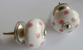 Knop wit met l.roze stip
