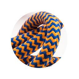 Textielsnoer blauw-oranje zebra