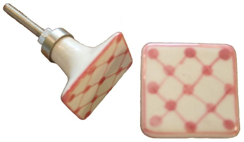 Knop vierkant roze motief