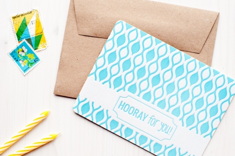 Letterpress Hooray for you  12 x 9
