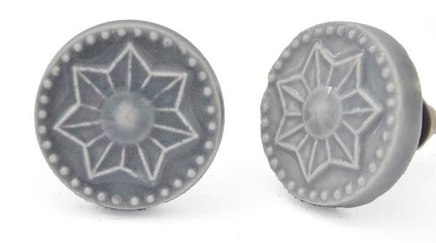 Knop grijs ster groot