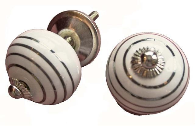 Knop wit met zilver streep