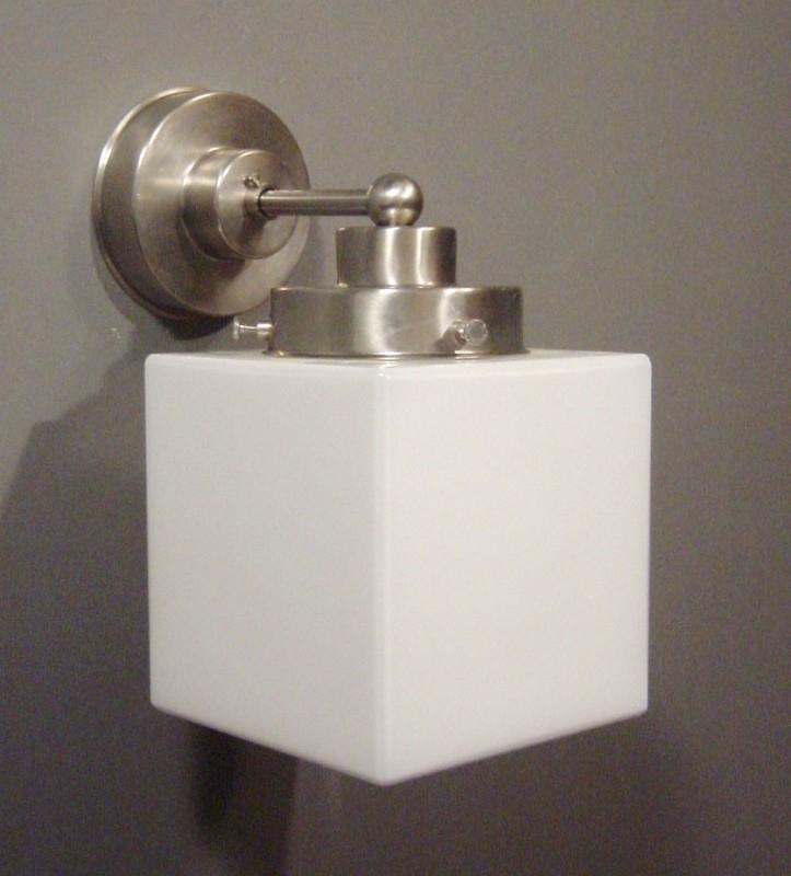 Wandlamp Recht strak + Kubus 12,5 cm.