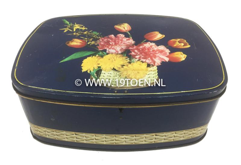 Voorraadblik d.blauw met bloemen