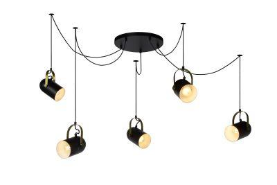 Hanglamp 5 spots zwart/messing