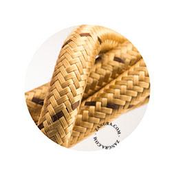 Textielsnoer goud met bruin stipje