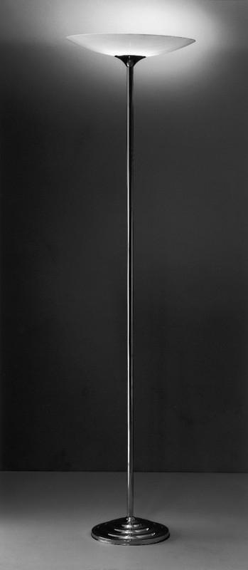 Vloerlamp Deco + glas (gezandstraald)