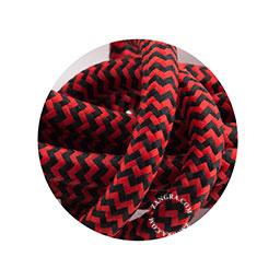 Textielsnoer zebra zwart-rood