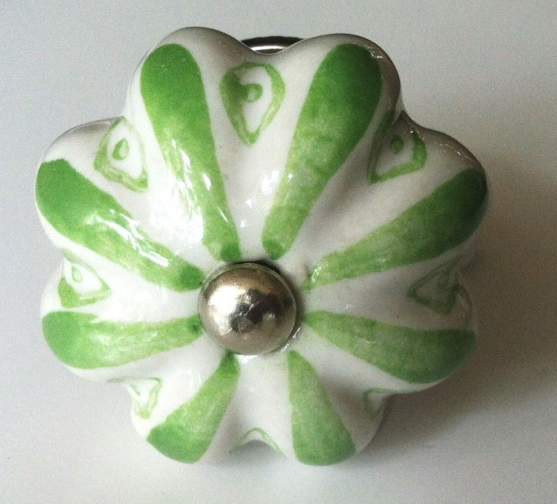 Knop geschulpt groen/wit