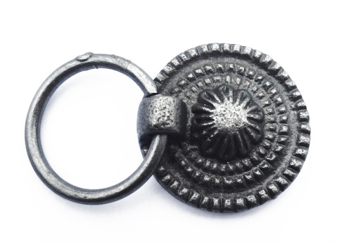 Knop/ladetrekker met ring donker metaal