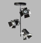 Plafondlamp Budussa zwart 3-lichts