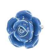 Knop roosje blauw