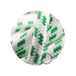 Textielsnoer wit met groen blokje
