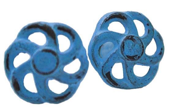 Knop metaal blauw