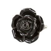 Knop roosje zwart