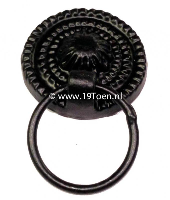 Knop/ladetrekker met ring zwart