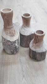 Flessen van hout /per set