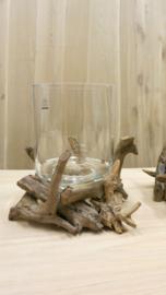 Glas met houten voet.