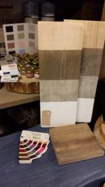 Taupe, grijs, wit voor kleuren van hout met wasvernis