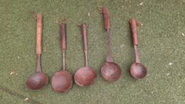 metalen lepel met houten handvat