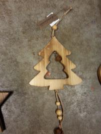 houten kerstboom met belletje