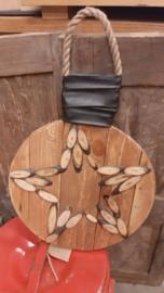 houten ster met lampjes