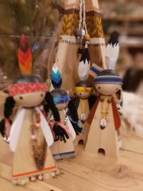 indianenfamilie met wigwam VERKOCHT.