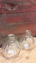 Fles bol in groentint/helder glas